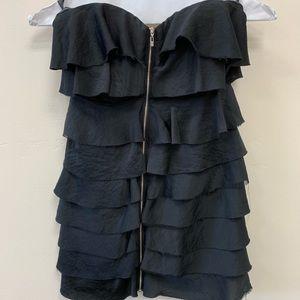 Bebe strapless Black Zip Front Dress